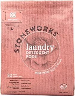 Grab Green Stoneworks Laundry Detergent Pods, Powered by Naturally-Derived Plant & Mineral-Based Powder Pods, Rose Petal, ...