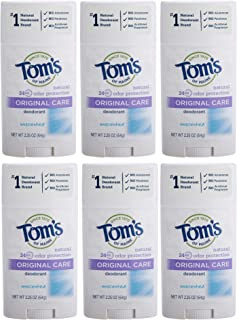 Tom's of Maine Natural Original Care Deodorant Stick, Unscented, 2.25 Ounce, Pack of 6