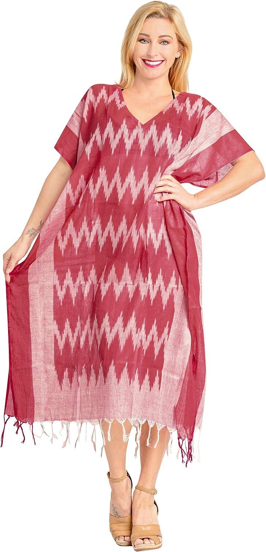 LA LEELA Women's Maxi Caftan Boho Dress Sleep Wear Swim Cover Ups Embroidered