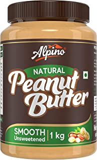 Alpino Natural Peanut Butter Smooth 1 KG | Unsweetened | Made with 100% Roasted Peanuts | 30% Protein | No Added Sugar | N...