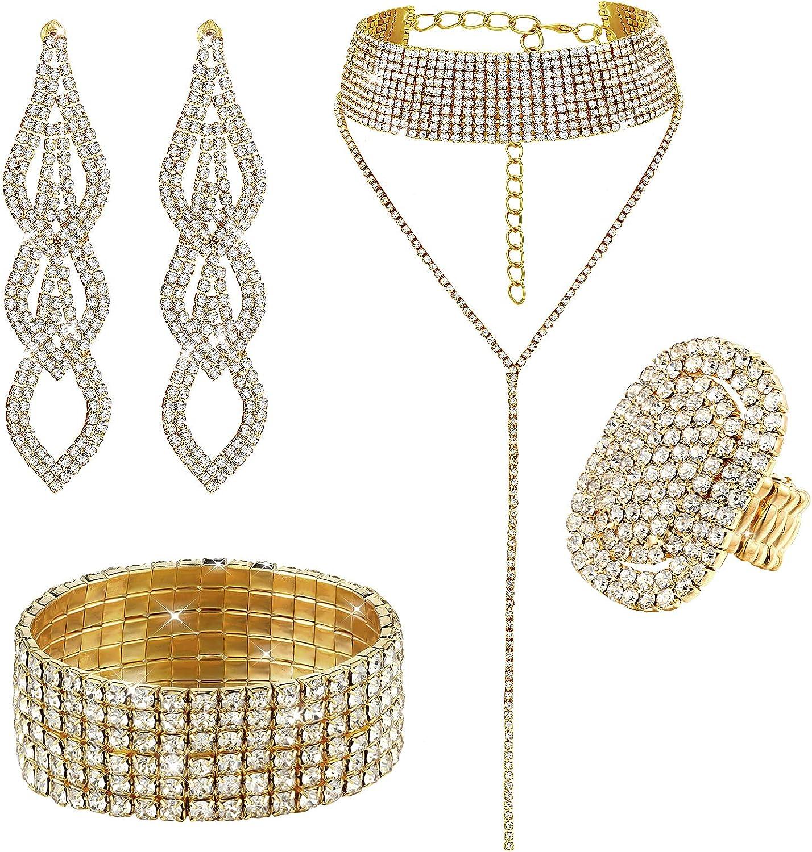 Fumete Rhinestone Crystal Jewelry Set Glitter Rhinestone Stretch Bracelet Bangle, Bridal Wedding Rhinestone Choker Necklace, Rhinestones Oval Ring, Dangle Fringe Earrings for Women