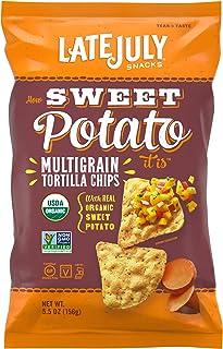 LATE JULY Snacks Multigrain Sweet Potato Tortilla Chips, 5.5 oz. Bag