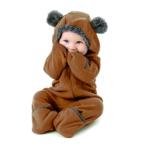46665c439 Funzies Fleece Baby Romper Jumpsuit - Infant Pyjamas Winter Dungarees Outfit