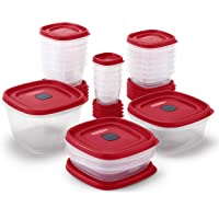 42 Piece Rubbermaid 2063704 Easy Find Vented Lids Food Storage Container (Racer Red)