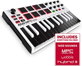 Akai Professional MPK Mini MKII LE White | White, Limited Edition 25 Key Portable USB MIDI Keyboard With 8 Backlit Performance Ready Pads, 8 Assignable Q Link Knobs & A 4 Way Thumbstick