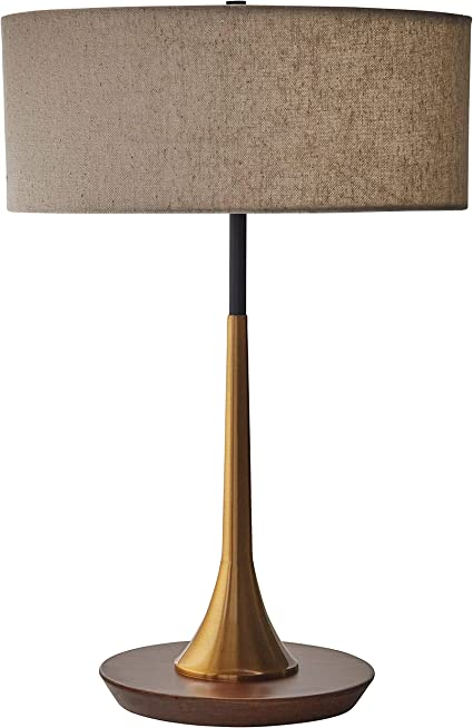 Amazon Brand – Rivet Mid-Century Modern Curved Brass Table Desk Lamp With LED Light Bulb - 14.3 x 21.7 Inches, Brass and Walnut