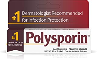 Polysporin First Aid Topical Antibiotic Ointment with Bacitracin Zinc & Polymyxin B Sulfate, For Infection Protection & Wound Care Without Neomycin, Travel Size, 0.5 oz