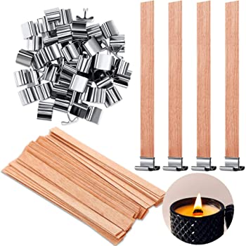 12x 8mm x 90mm Candle Wood Wick with Sustainer Tab Candle Making Supply Ja