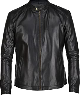 Sponsored Ad - Mens Leather Jacket - Black Real Lambskin Leather Jackets for Mens - Moto Leather Jacket Men