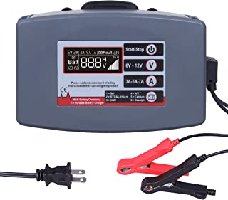 CARTMAN Smart Battery Charger, Battery Maintainer 12V 7A/5A/3A for Gel, STD or Lithium, AGM, Wet, Calcium, Desulph Batteries