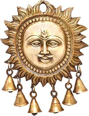 Two Moustaches Brass Sun Design Wall Hanging with Bells (5.5 x 7 Inches, Brown)