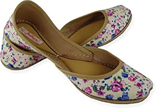 Fulkari Women's Soft Leather Bite and Pinch Free Fabric Printed Comfortable Casual Jutis Ethnic Flat Shoes