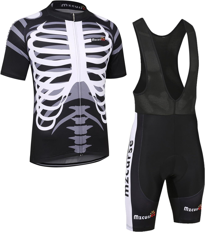 Mzcurse Mens Cycling Shirt Jersey + Shorts Pants Suit Sets (Skeleton Bib, Medium,Please Check The Size Chart)