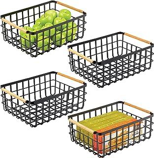 mDesign panier de rangement pratique (lot de 4) – panier en métal pour cuisine ou garde-manger – 40,6 cm x 30,5 cm x 15,2 ...