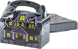 Treat Boxes - 24-Pack Paper Party Favor Boxes, Halloween Themed Haunted House Design Goodie Boxes for Trick-or-Treat and Events, Party Gable Boxes, 6.2 x 3.5 x 3.6 Inches