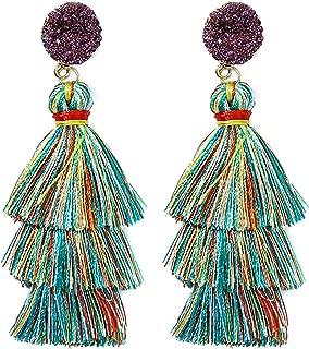 Rave Envy Colorful Tassel Earrings for Women   Layered Tassle Earrings   Choice of Color