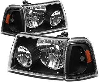 For Ford Ranger 4Pcs Black Housing Amber Corner Headlight+Corner Lights Kit Replacement