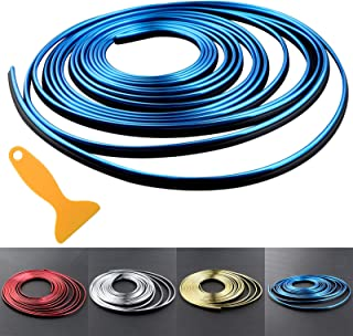 Car Interior Trim Strips - 16.4ft Universal Car Gap Fillers Automobile Moulding Line Decorative Accessories DIY Flexible Strip Garnish Accessory with Installing Tool (5M- Blue)