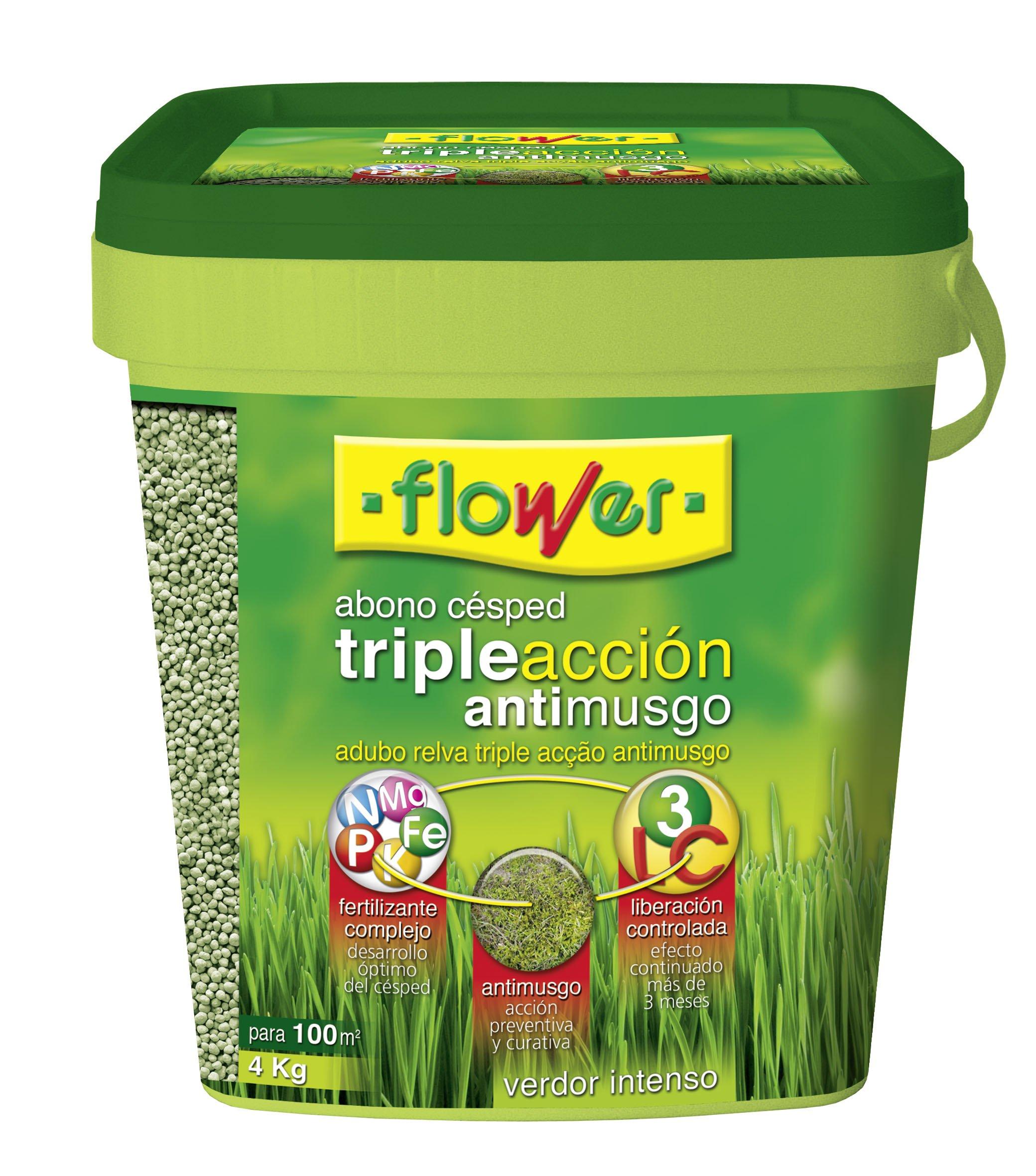 Flower 10733 10733-Abono césped triple acción anti musgo, 4 kg, No aplica, 20x20x20.7 cm: Amazon.es: Jardín