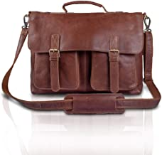 KomalC 16 Inch Buffalo Leather Briefcase Laptop Messenger Bag Office Briefcase College..