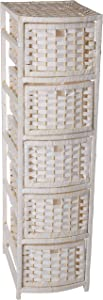 """Oriental Furniture 40"""" Natural Fiber Occasional Chest of Drawers - White"""