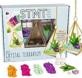STMT DIY Crystal Terrarium by Horizon Group USA, Make Your Own Hanging Garden. 1 Glass Terrarium, 2 Gemstones, 1 Faux Plan...