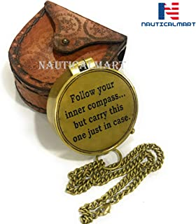 Follow Your Inner Compass/Inspirational Gift/Directional Magnetic Compass for Navigation/Pocket Compass for Camping, Hiking, Touring