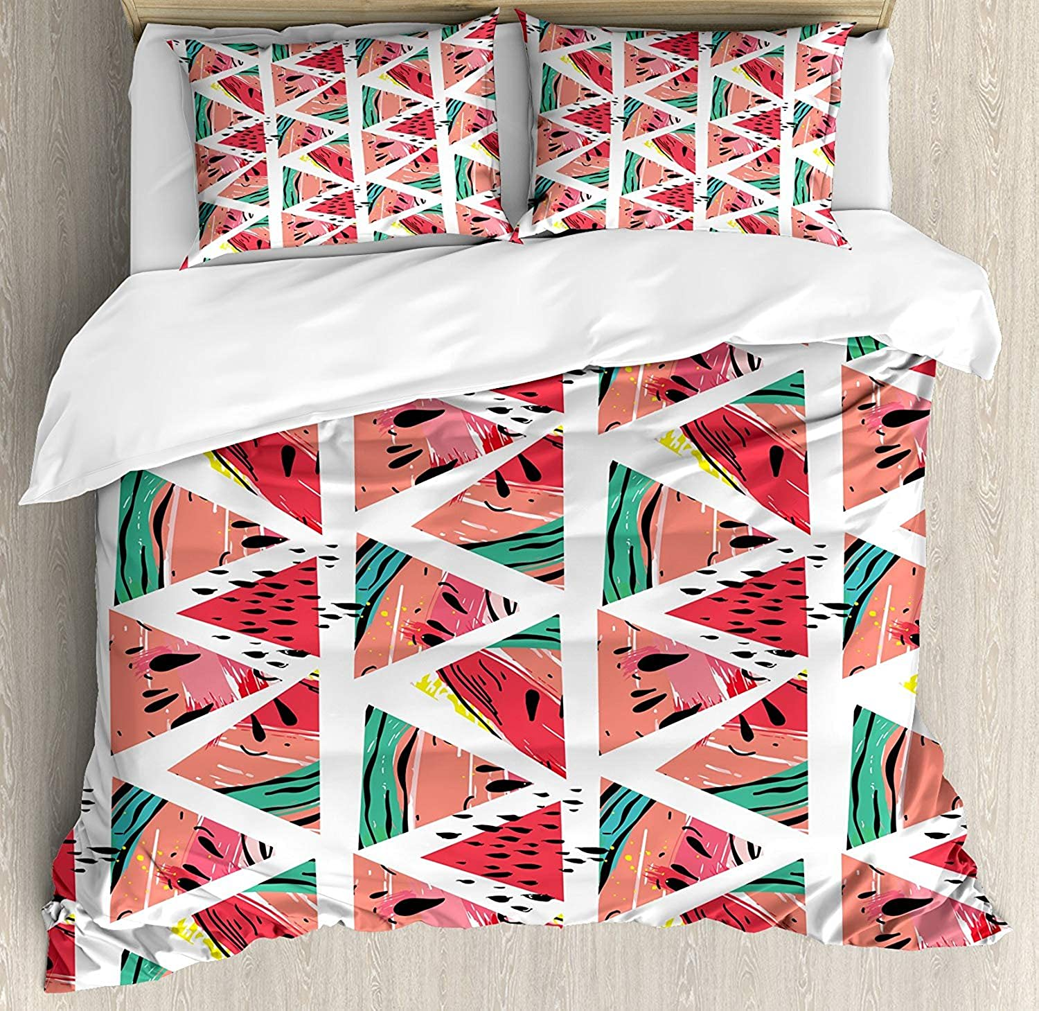 OxOHome Watercolor Bedding SetsAbstract Watermelon Pattern in Triangles Hipster Hand Drawn Tropical Duvet Cover Sets Coral Pink Turquoise Full Bedding Comforter Cover Sets Soft Bedding Collections