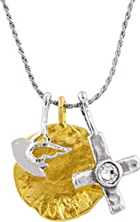 Cross and Dove' Multi-Charm Pendant Necklace with Swarovski Crystals in Sterling Silver & Brass