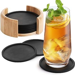 Sidorenko Dessous de Verre Silicone rond pour verres - set de 8 incl. box - Sous-bock design en verre noir pour boissons, ...