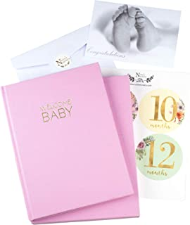 Pink Linen Wrapped Baby Memory Book Journal with Monthly Stickers & Card – Baby Shower Gift or Scrapbook Keepsake