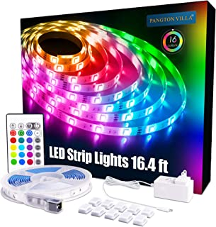 PANGTON VILLA Led Strip Lights 16.4 ft RGB 5050 Color Kit with 24 Key Remote Control and..