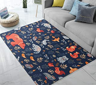 Area Rugs Forest Animals Bear Fox Fairy Tale Large Floor Mat for Living Dining Dorm Playing Room Bedroom 5' x 6.6'