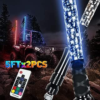 LED Whip Lights, AAIWA 2PCS 5FT Wireless Remote LED Antenna Light for UTV Polaris RZR 4 Wheeler Off Road ATV Jeep Truck Dunes