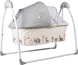 R for Rabbit Lullabies New Born Baby Folding Automatic Swing Cradle with Remote Control and Mosquito net for 0 to 1.5 Years Infant Babies boy or Girl (Cream)