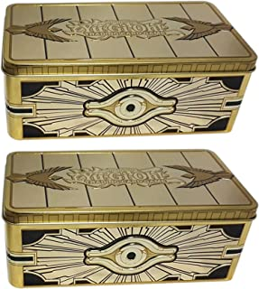 Kinderzimmer//Schreibtisch Spielzeug-Beh/älter Aufbewahrungsdose Unbekannt YuGiOh 4X Gold Sarcophagus Tin Dosen Kinder-Koffer mit Deckel Metall-Kiste