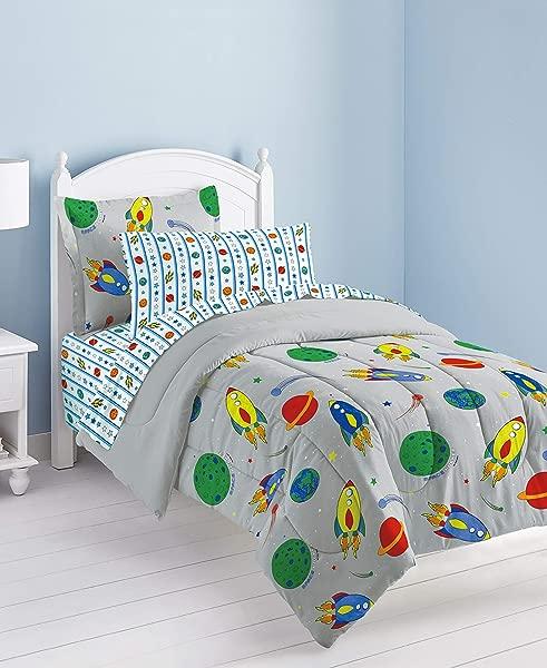 Dream Factory Space Rocket Ultra Soft Microfiber Comforter Set Multi Colored Twin