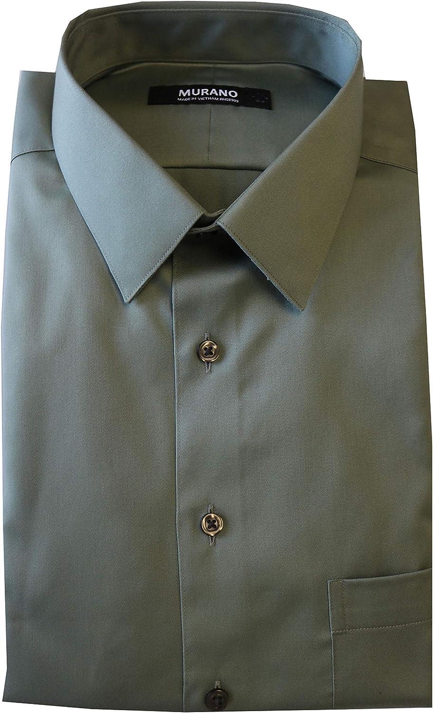 Max 62% Very popular! OFF Murano Slim Fit Point Collar Sateen Shirt F85DM012 Solid Dress L