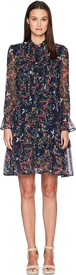 Loose-Fitting Blue Bird Print Dress in Crepe Silk Muslin