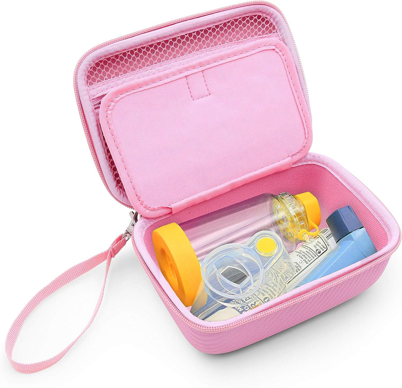 CASEMATIX Pink Travel Asthma Inhaler Case Medicine Bag Fits Inhaler Asthma Relief Asthmanefrin, Masks, Spacer Aero Chamber, Primatine Mist, Lung Expansion - CASE ONLY : Health & Household