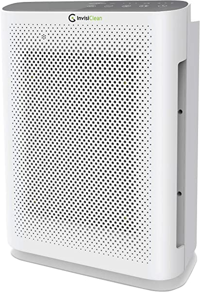 InvisiClean Aura II Air Purifier 4 In 1 True HEPA Ionizer Carbon UV C Sanitizer Air Purifier For Allergies Pets Home Large Rooms Smokers Dust Mold Allergens Odor Elimination Germs