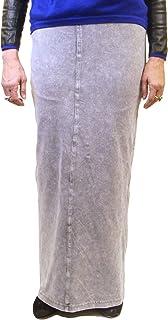 Hard Tail Forever Long Denim Skirt - Back Pockets, Closed Slit - Style WJ-114