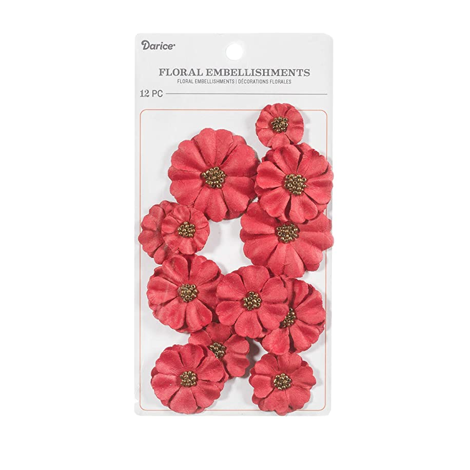 Darice 30062058 Floral Embellishment: Red, 12 Pack