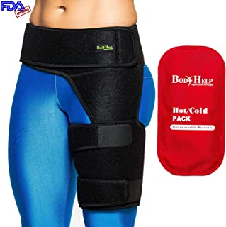 Body Help Thigh Support Brace for Immediate Pain Relief and Recovery Support - Unisex Compression Sleeve for Hip, Groin, and Thigh Pain and Injury
