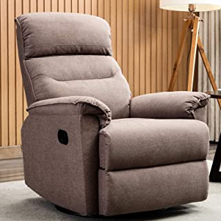 CANMOV Swivel Rocker Recliner Chair – Manual Reclining Chair, Single Seat Reclining Chair, Smoke Gray