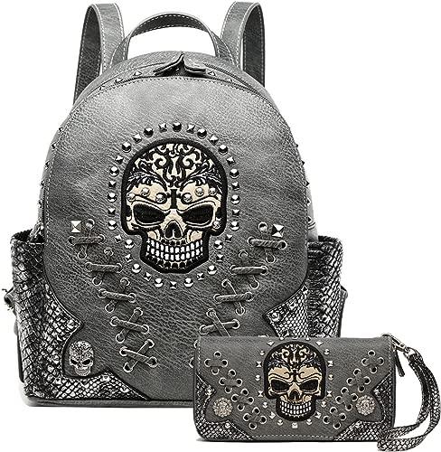 Western Sugar Skull Biker Purse Backpack Bookbag Shoulder Women Bag Wallet Set