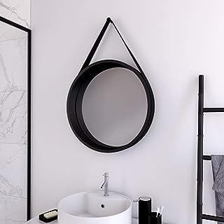 Aurlane Miroir Salle de Bain Rond Type barbier - diamètre 50cm - Barber Dark
