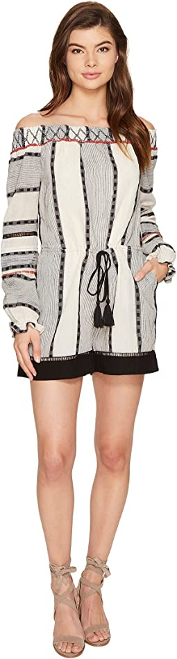 Aimee Woven Jacqured Off the Shoulder Romper