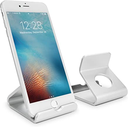 BoxWave Stand and Mount, [Universal Minimus Aluminum Stand] Portable Metallic Viewing Stand for Smartphones and Tablets - Metallic Silver