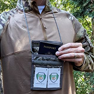 Digital ACU Camo Passport and Trade Show Badge Holder with Neck Lanyard - Tactical Travel Wallet w/Large 4 x 3 Window & Army Notepad or Passport Pouch & Pen Loop by Specialist ID (USA Made)